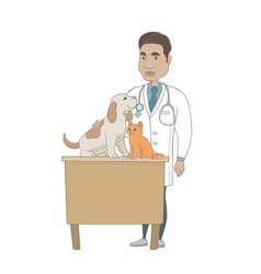 Young hispanic veterinarian examining pets vector