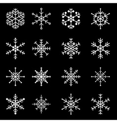 16 types of white snowflakes eps10 vector image vector image