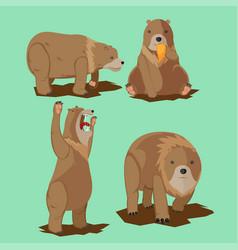bear wild character cartoon set vector image