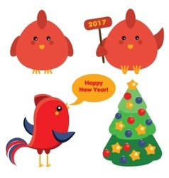 Cute red roosters and christmas spruce tree in vector