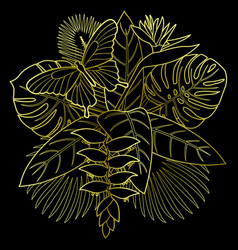 golden tropical bouquet vector image vector image