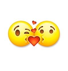 Kissing emoticons Valentines day emoticon icon vector image