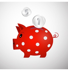 Red Piggy Bank With Coins Isolated on White vector image vector image