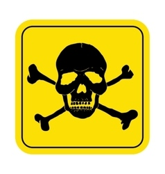 Square danger sign with skull symbol Deadly vector image vector image