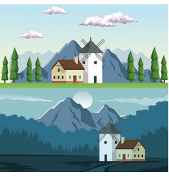 Two graphic frames landscape in daytime and night vector