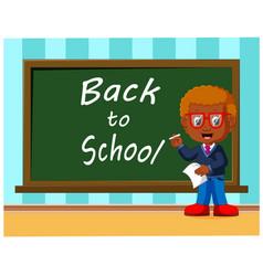 back to school cute schoolchild at the blackboard vector image vector image