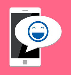 mobile phone with smile vector image vector image