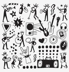 rock musicians doodle vector image vector image