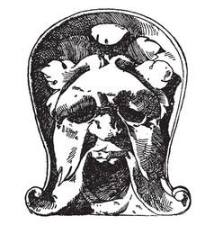 Single grotesque mask vintage engraving vector