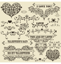 Vintage valentines detailed design vector