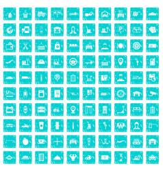 100 loader icons set grunge blue vector image