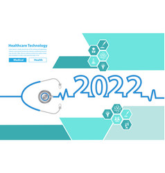 2022 new year with stethoscope creative design vector