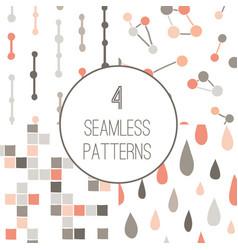 4 simple minimalistic seamless geometric patterns vector image