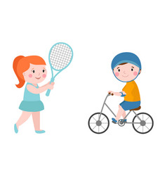 Activity boy on bike young fun sport happy child vector