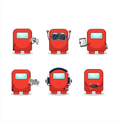 Among us red cartoon character are playing games vector
