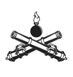 Ancient cannons in engraving style design element vector
