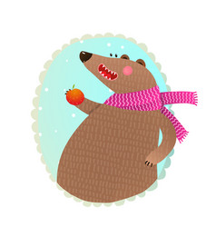 bear eating apple portrait vector image vector image