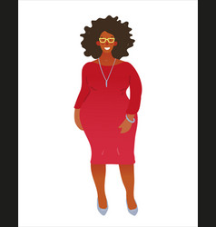 beautiful young black woman in an elegant red vector image