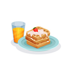 belgian waffles with ice cream and glass of juice vector image