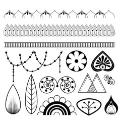 Boho style mandala set icons vector