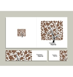 Business card collection abstract square tree vector image