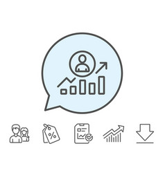 Business results line icon career growth chart vector