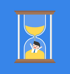 businessman flooded in hourglass time management vector image
