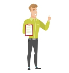 Businessman with clipboard giving thumb up vector
