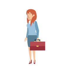 Businesswoman with portfolio avatar character vector