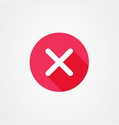 Cancel icon in red with long shadow effect close vector