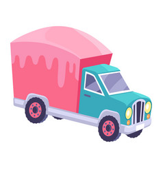 cargo truck with glazed container cartoon vector image