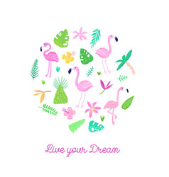 childish tropical design with cute flamingos palms vector image
