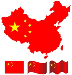 china map and flag of vector image
