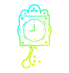 Cold gradient line drawing ticking clock with vector