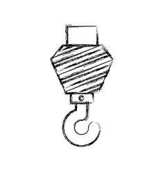 crane hook flat icon monochrome blurred silhouette vector image