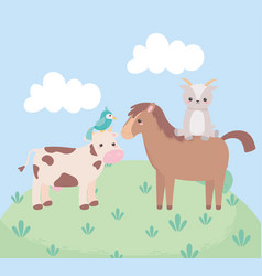 Cute horse goat cow and parrot cartoon animals in vector