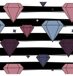 Diamonds and crystals repetition pattern on vector