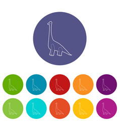 Diplodocus icons set color vector