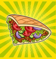 Doner kebab pop art vector