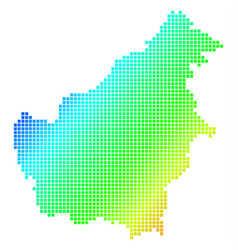 Dotted pixel spectrum borneo island map vector