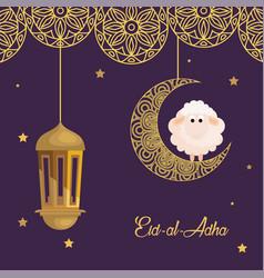 Eid al adha mubarak happy sacrifice feast sheep vector
