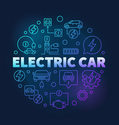 electric car round blue colored line vector image