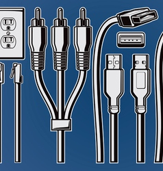 electrical plugs and cables black and white vector image
