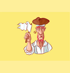 emoji sticker captain mascot give up white flag vector image