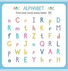 Find and circle every letter r worksheet vector