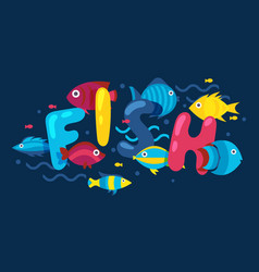 Fish typography poster booklet cover for aquarium vector