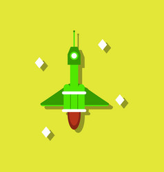Flat icon design collection spaceship in space in vector