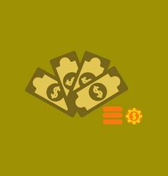 Flat icon on background money dice chips vector