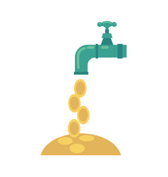 flat water tap with golden coins falling vector image