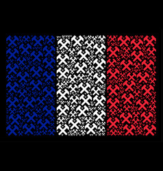 french flag pattern of hammers icons vector image